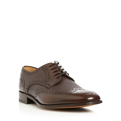 Loake - Dark brown grained leather brogues