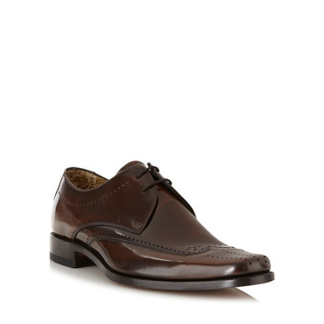 Loake - Dark brown coated leather brogues