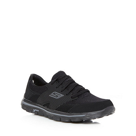 Skechers GOrun - Black +Go Walk 2+ lightweight mesh trainers