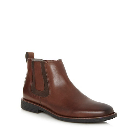 Steptronic - Wide fit dark brown leather chelsea boots