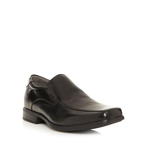 Steptronic - Wide fit black leather tramline slip on shoes