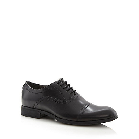 Steptronic - Wide fit black leather stitch shoes