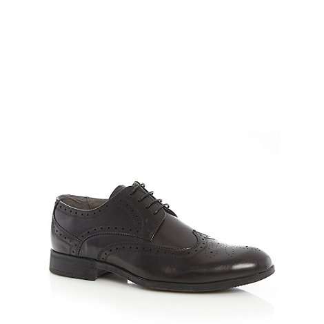 Steptronic - Wide fit black leather brogues