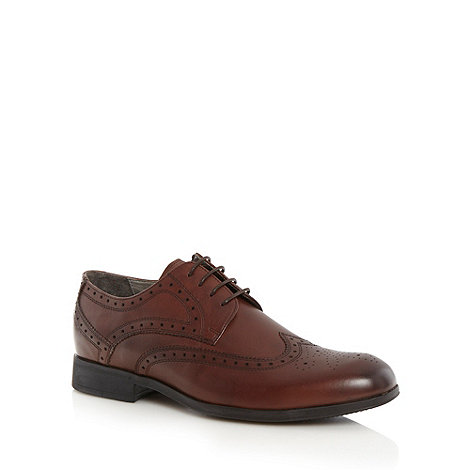 Steptronic - Wide fit dark brown leather brogues