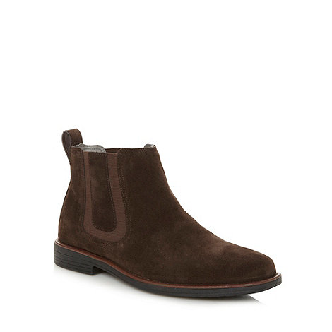 Steptronic - Wide fit dark brown suede chelsea boots