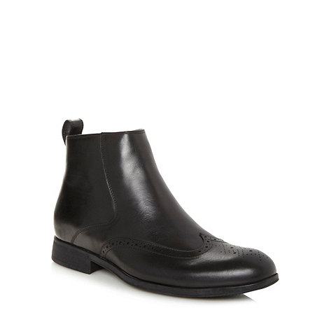 Steptronic - Wide fit black leather brogue boots