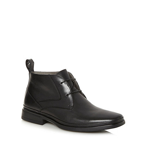 Steptronic - Wide fit black leather ankle boots