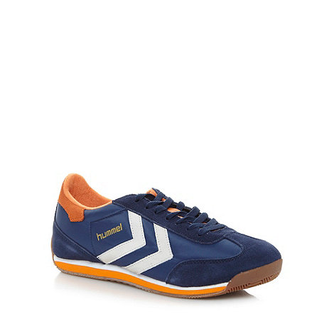 Hummel - Blue striped panel trainers