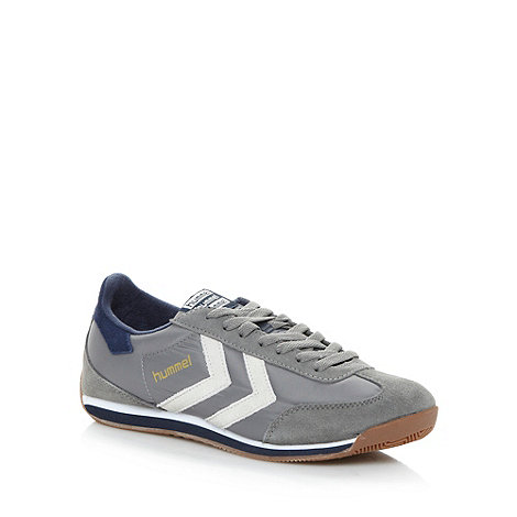 Hummel - Grey striped panel trainers