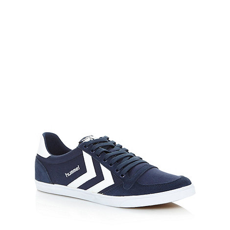 Hummel - Navy canvas stripe trainers