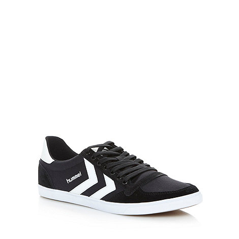 Hummel - Black canvas stripe trainers