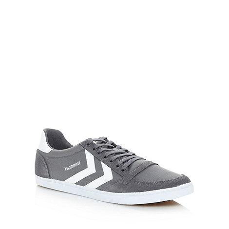 Hummel - Grey canvas stripe trainers