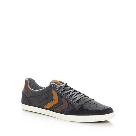 Hummel - Grey leather stripe fleece trainers