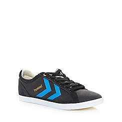 Hummel - Black suede leather stripe trainers