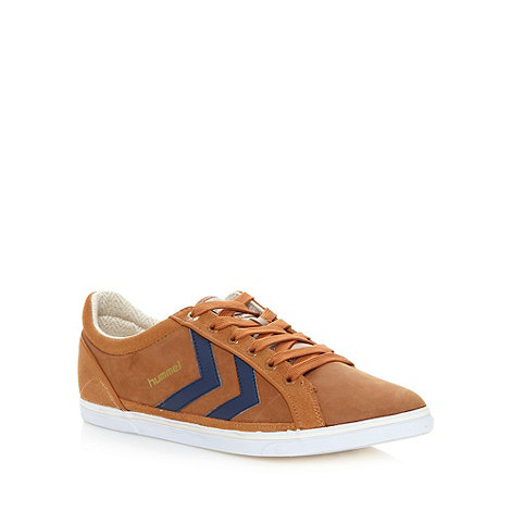 Humell - Tan suede leather stripe trainers