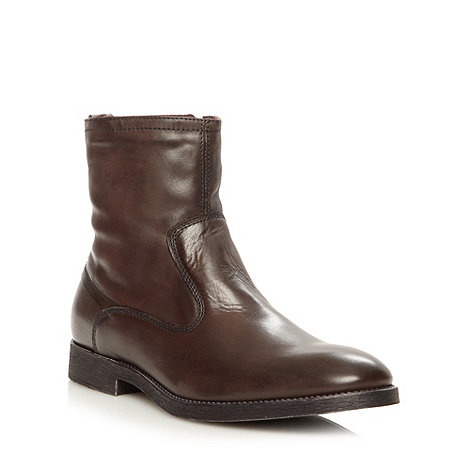 RJR.John Rocha - Designer brown leather fleece ankle boots