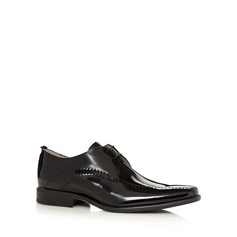 J by Jasper Conran - Designer black patent punched tramline shoes