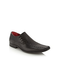 Red Tape - Black leather tramline stitched lace up shoes