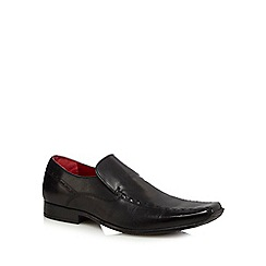 Red Tape - Black leather tramline slip on shoes