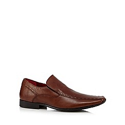 Red Tape - Tan leather tramline stitched slip on shoes