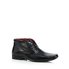 Red Tape - Black leather tramline stitched lace up boots