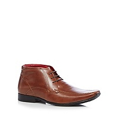 Red Tape - Tan leather tramline stitched lace up boots