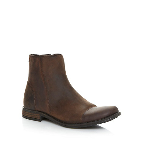 FFP - Chocolate leather zip ankle boots