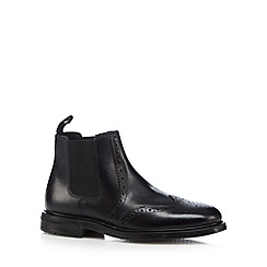 Red Tape - Black leather brogue chelsea boots