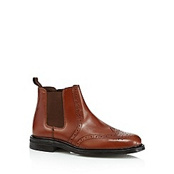 Red Tape - Tan leather brogue chelsea boots