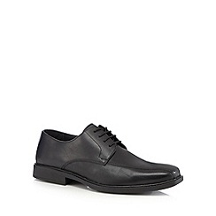 Henley Comfort - Wide fit black leather tramline shoes