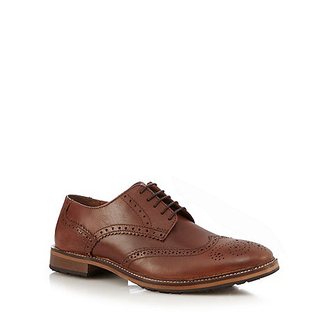 Red Herring - Dark tan leather lace brogues