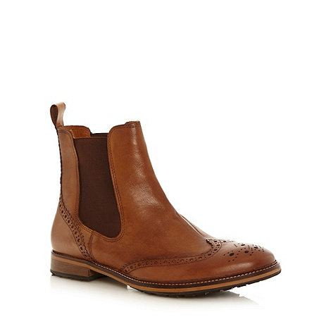 Red Herring - Tan leather brogue chelsea boots