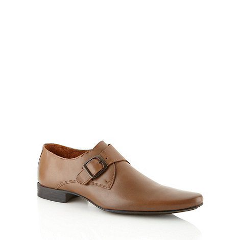 Red Herring - Tan leather buckle slip on shoes