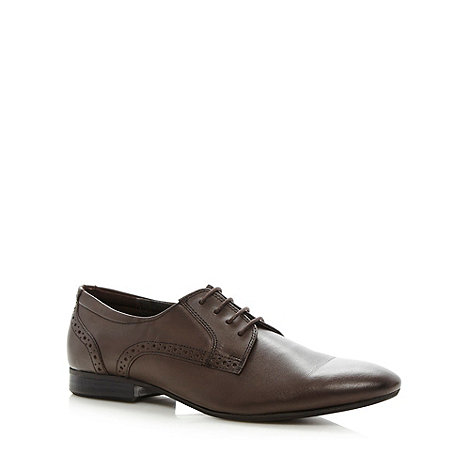 Red Herring - Brown leather brogue trim point shoes