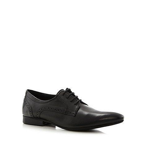 Red Herring - Black leather brogue trim point shoes