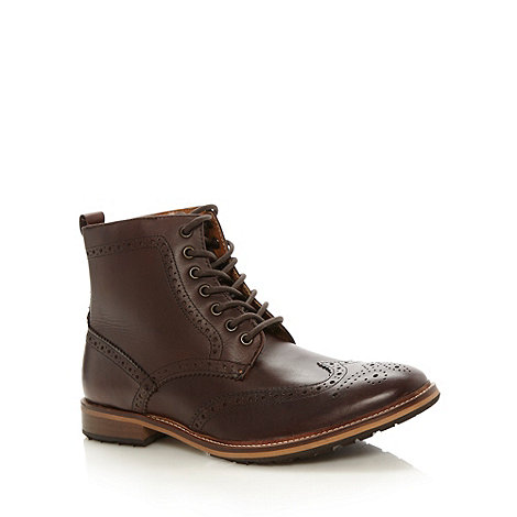 Red Herring - Chocolate leather brogue boots