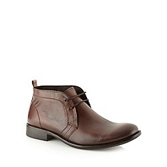 Red Herring - Brown grained leather lace up chukka boots