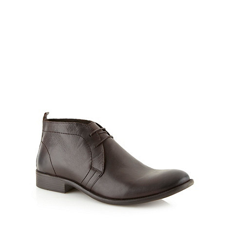 Red Herring - Dark brown leather lace up chukka boots