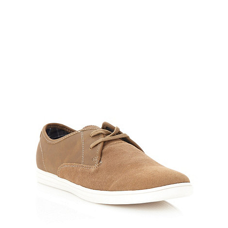 Red Herring - Tan suede lace up plimsolls