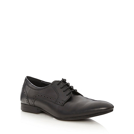 Red Herring - Black leather punched point toe shoes