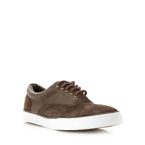 FFP - Dark brown suede panelled plimsolls