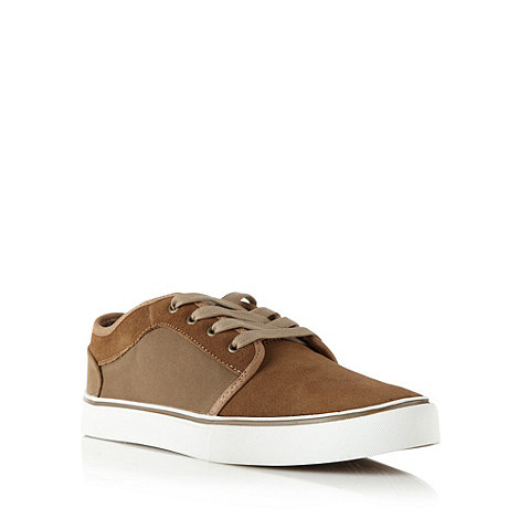 FFP - Tan suede panelled lace up plimsolls