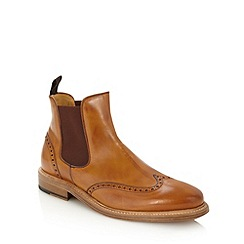 Berwick - Tan leather brogue chelsea boots