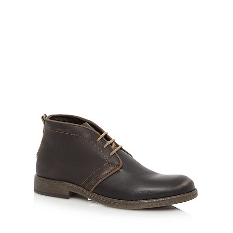 Wrangler - Dark brown lace up leather chukka boots