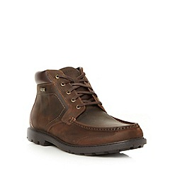 Rockport - Wide fit brown leather apron front boots