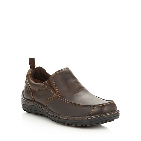 Hush Puppies - Wide fit brown leather slip on shoes