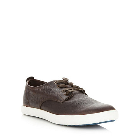 Hush Puppies - Brown grain leather lace up shoes