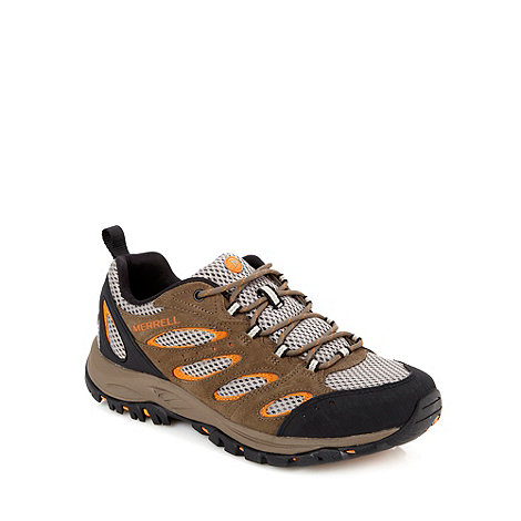 Merrell - Brown leather mesh panel shoes
