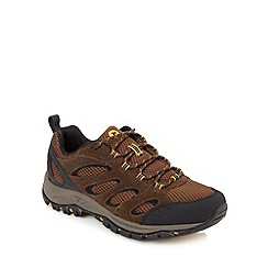 Merrell - Chocolate leather mesh panel shoes