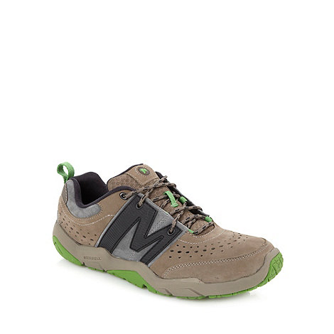 Merrell - Taupe suede logo trainers